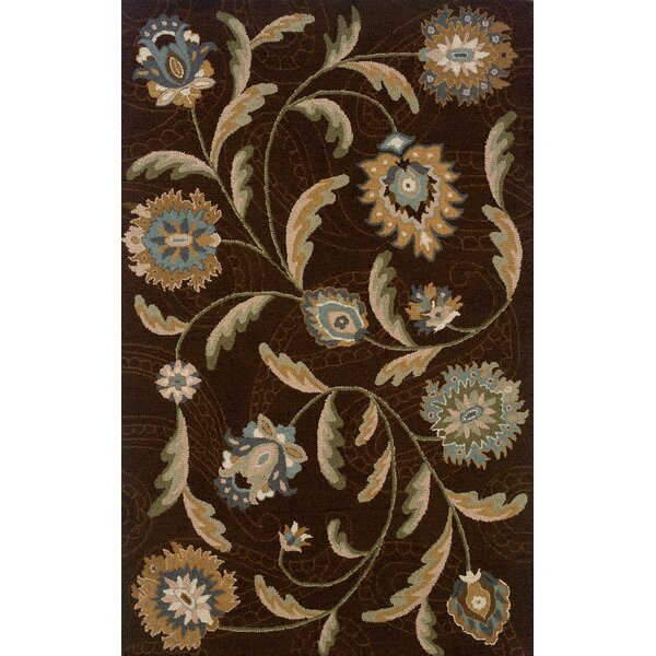 Maxson Hand-made Brown/Blue Area Rug by Red Barrel Studio