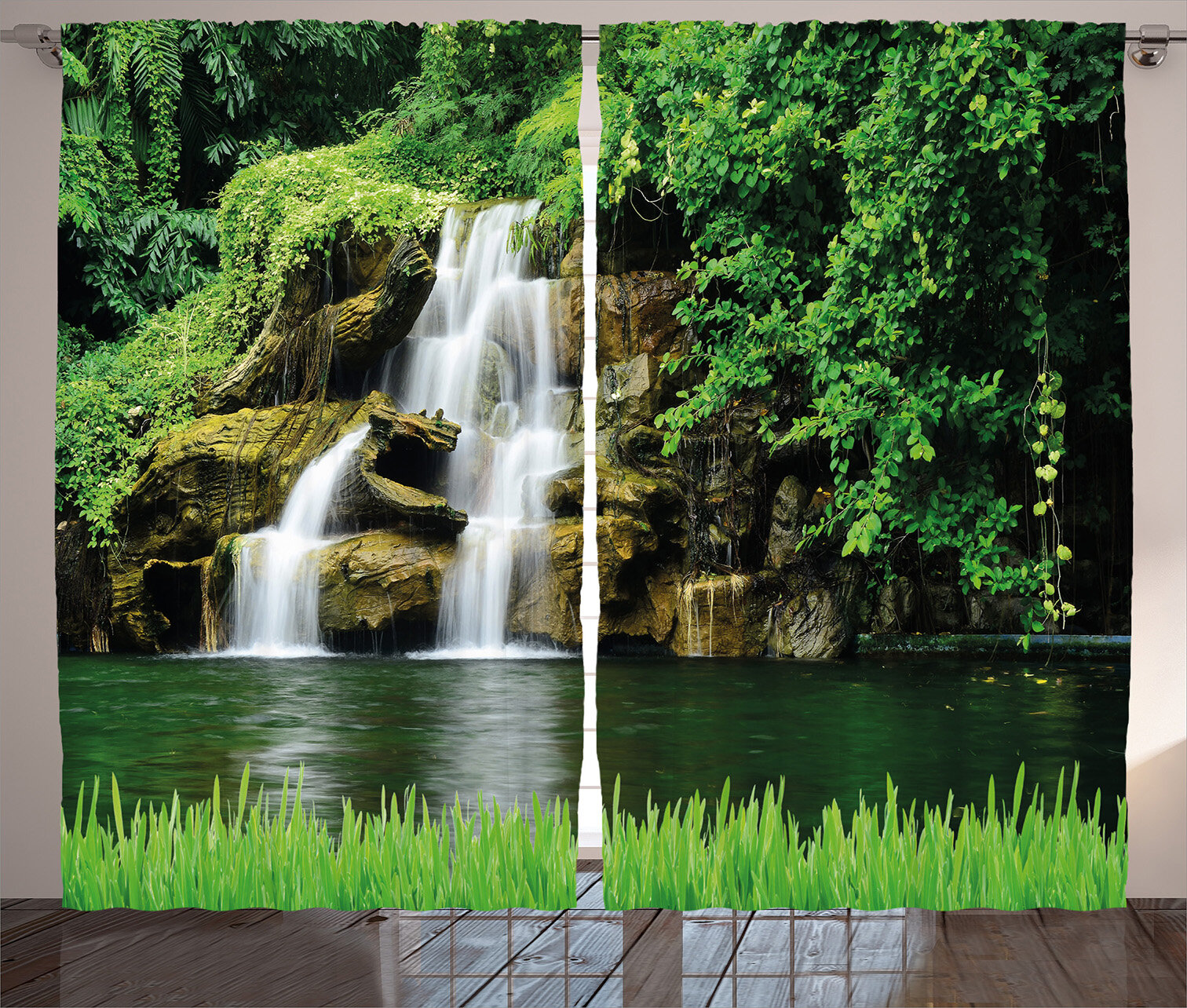 East Urban Home Waterfall Double Waterfalls Flow To Natural Green