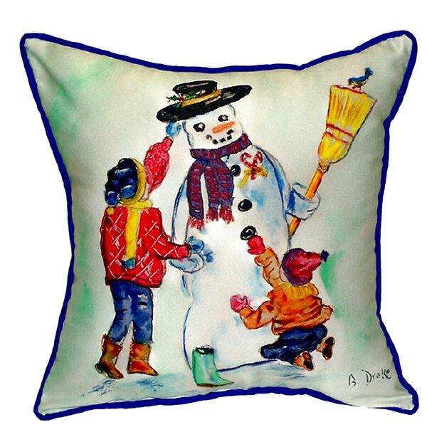 Ann Snowman Outdoor Throw Pillow by The Holiday Aisle