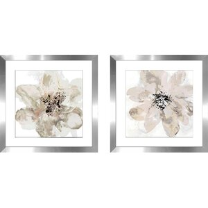 'Corolla III - Neutral' 2 Piece Framed Watercolor Painting Print Set by Latitude Run