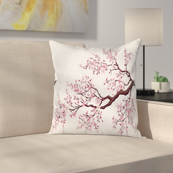 Japanese Cherry Blossom Bough Pillow Cover by East Urban Home