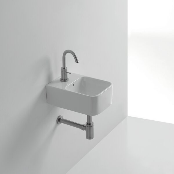 Normal Ceramic 14 Wall Mount Bathroom Sink with Overflow by WS Bath Collections