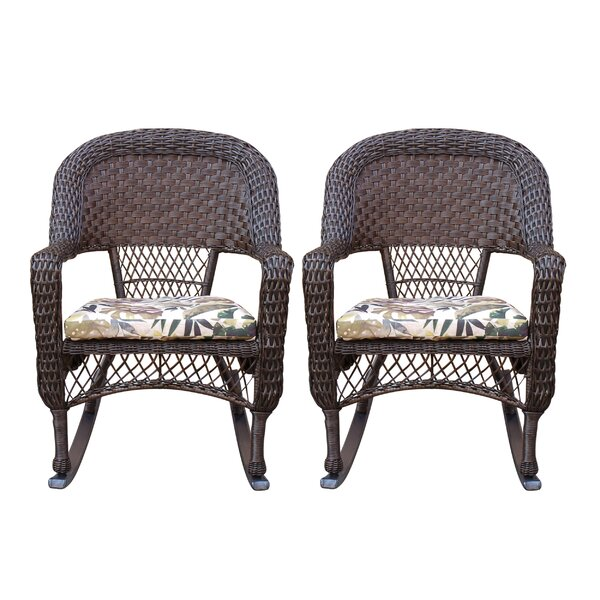 Belwood Resin Wicker Rocking Chair with Floral Cushions (Set of 2) by Bay Isle Home