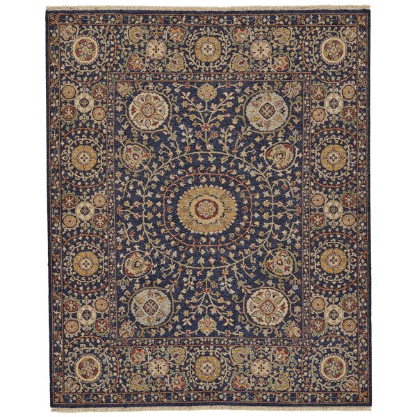 Kondo Hand-Knotted Wool Navy Area Rug by Alcott Hill