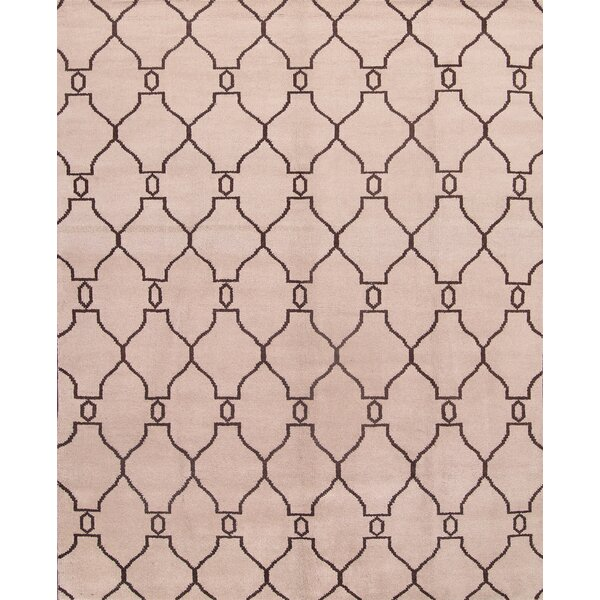 One-of-a-Kind Chiara Moroccan Trellis Oriental Hand-Knotted Wool Beige/Brown Area Rug by Wrought Studio