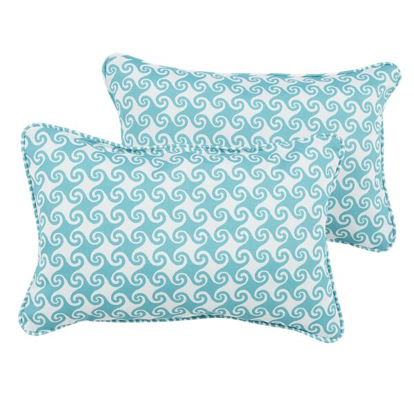 Estelle Waves Indoor/Outdoor Piped Lumbar Pillow (Set of 2) by Bayou Breeze