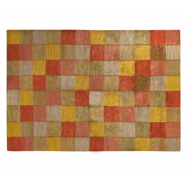 Checkered Hand-Knotted Wool/Silk Red Area Rug