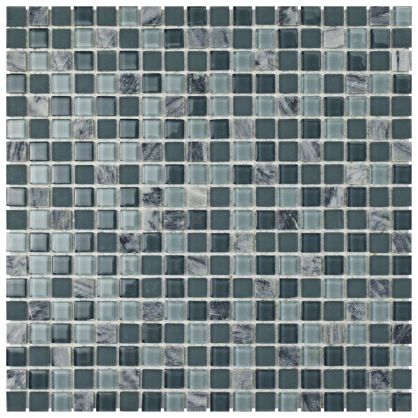 Ambit Glass/Natural Stone Mosaic Tile in Fortress by EliteTile