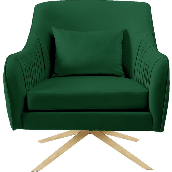 Greenville Velvet Accent Swivel Armchair by Everly Quinn