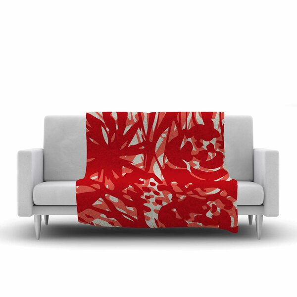 Patternmuse Inky Floral Poppy Painting Fleece Throw by East Urban Home