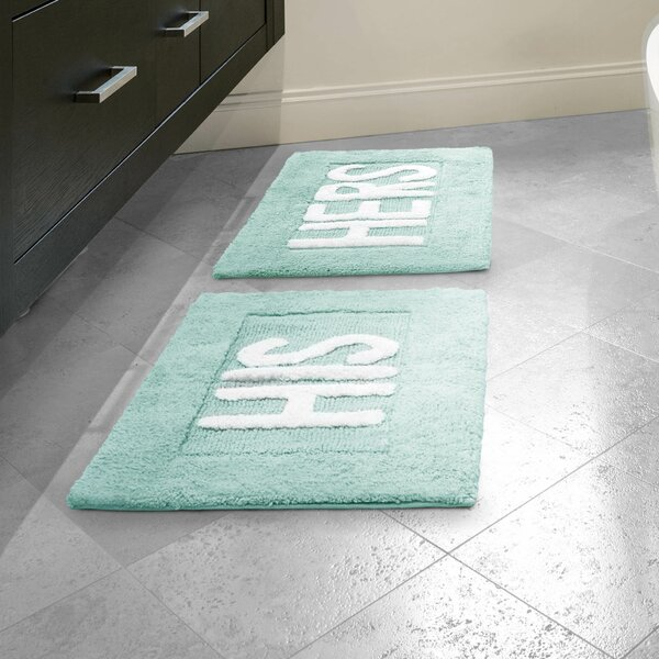 Arverne His and Hers Rectangle 100% Cotton 2 piece Bath Rug Set