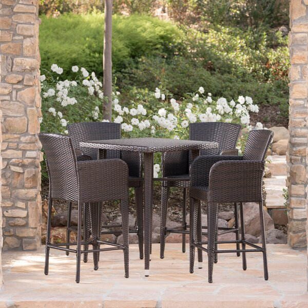 Sallee Outdoor Wicker 5 Piece Pub Table Set by Brayden Studio