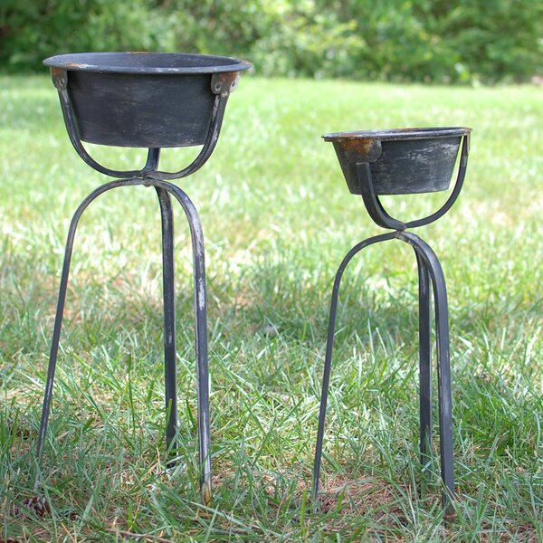 2 Piece Metal Pot Planter Set by Attraction Design Home