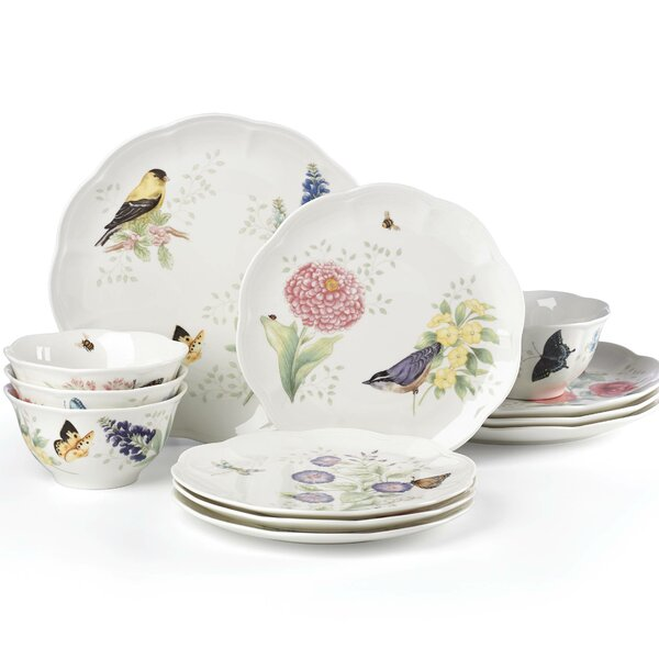 Butterfly Meadow Flutter 12 Piece Dinnerware Set, Service for 4 by Lenox
