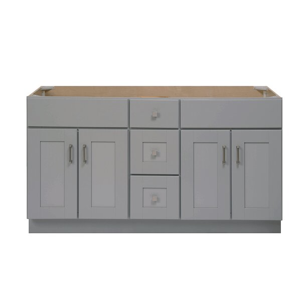 Grayson 60'' Double Bathroom Vanity Base Only in Dove Gray