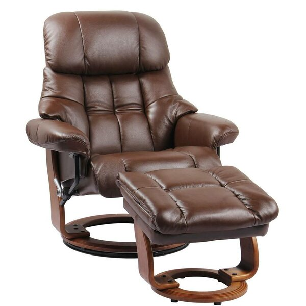 Henkel Leather Manual Swivel Recliner with Ottoman by Red Barrel Studio