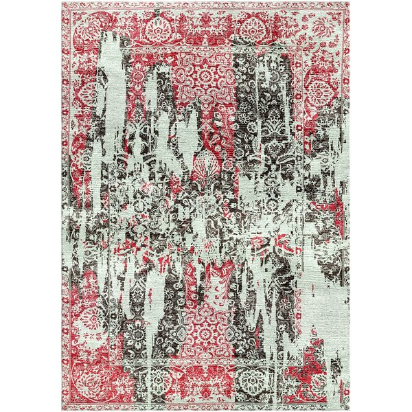 Aliza Handloom Maroon/Gray Area Rug by Bungalow Rose