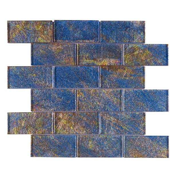 Galaxy 2 x 4 Glass Mosaic Tile in Blue/Gold by Multile