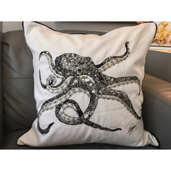 Chartier Octopus Embroidered Cotton Throw Pillow by Rosecliff Heights