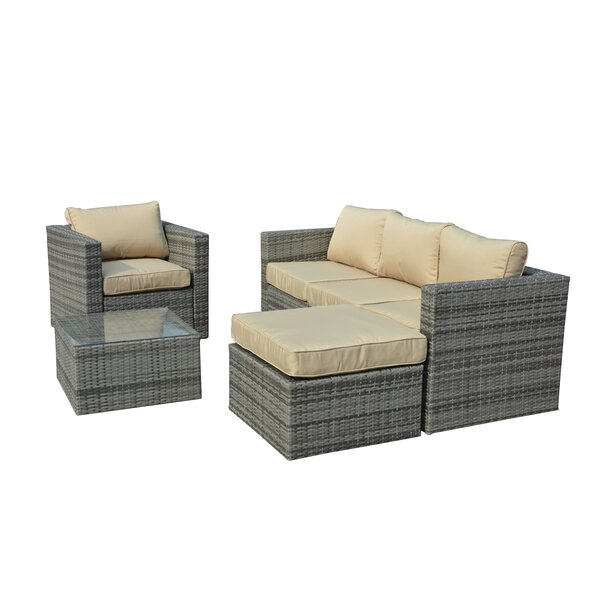 Rister 4 Piece Sectional Set with Cushions by Mercury Row