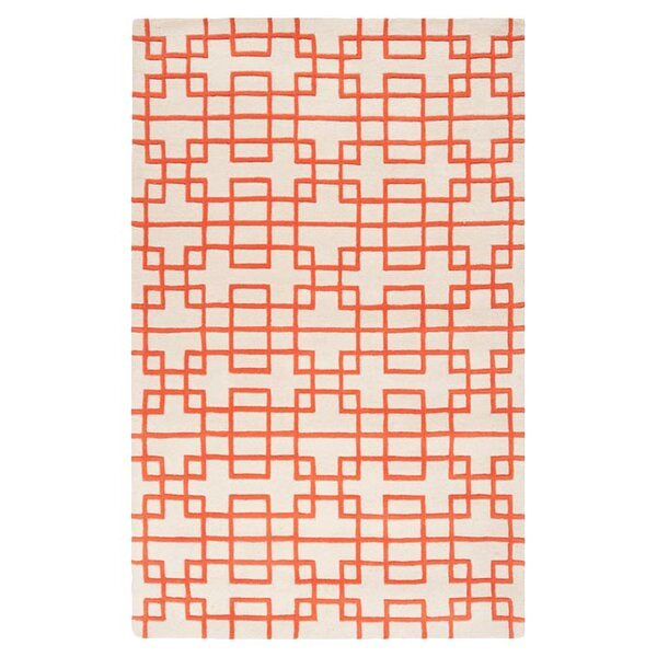 Jessenia Ivory/Orange Area Rug by Everly Quinn