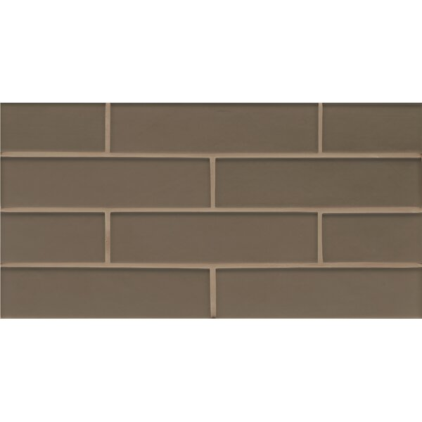 Remy Glass 8 x 16 Mosaic Gloss Mesh Mount Tile in Taupe by Grayson Martin