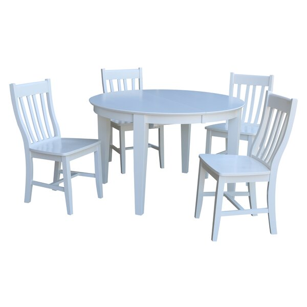 Romulus 5 Piece Extendable Solid Wood Dining Set by August Grove