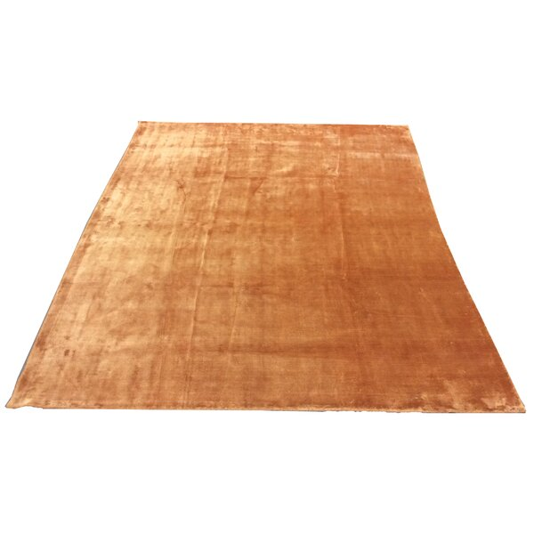 One-of-a-Kind Fielden Hand-Knotted Orange 7'10x 9'9 Silk Area Rug