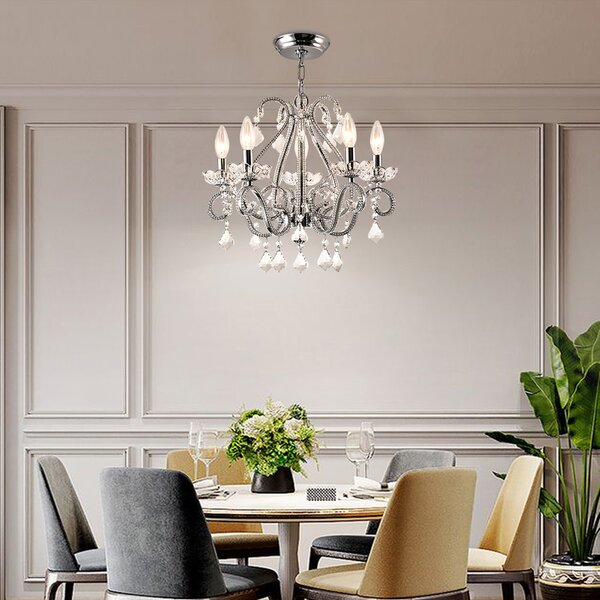 Womac 5 - Light Chandelier with Crystal Accents by Rosdorf Park Rosdorf Park