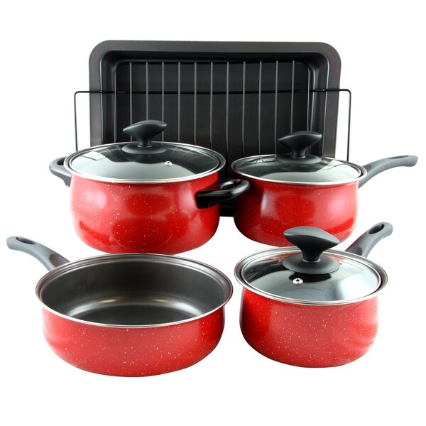 Kelfield 9 Piece Non-Stick Stainless Steel Cookware Set by Gibson