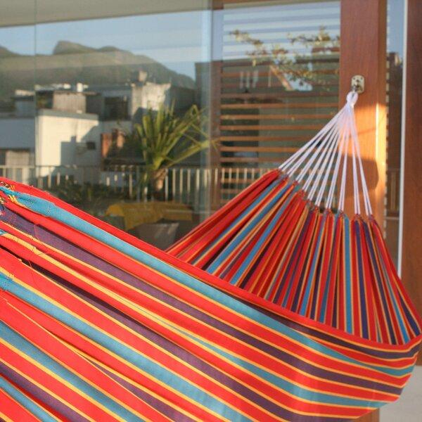 Single Person Fair Trade Portable Striped Carnival Rainbow' Hand-Woven Brazilian Cotton Indoor And Outdoor Hammock by Novica