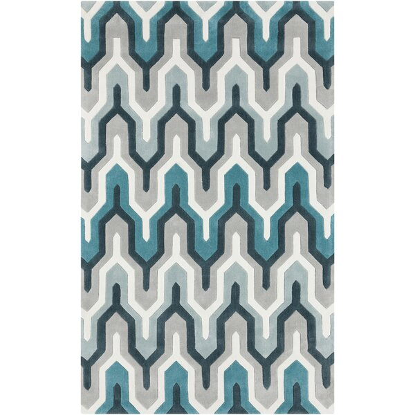 Kelch Hand-Tufted Blue/Gray/Teal Area Rug by Brayden Studio