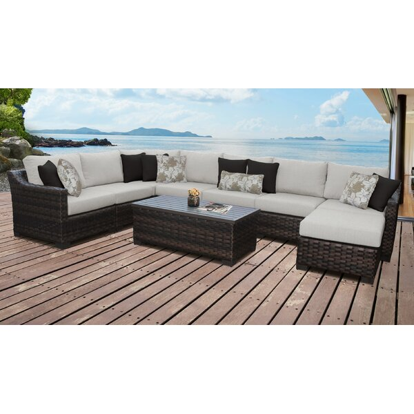River Brook 9 Piece Rattan Sectional Seating Group with Cushions by kathy ireland Homes & Gardens by TK Classics