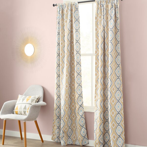 Van Siclen Geometric Blackout Thermal Rod Pocket Single Curtain Panel by Mercury Row