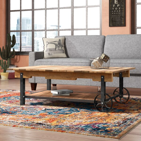 Solid Wood Wheel Coffee Table By Trent Austin Design