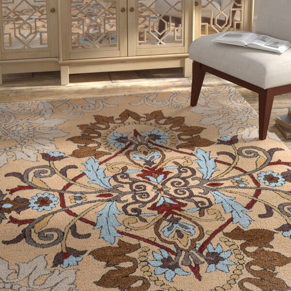 Andaluss Hand-Tufted Beige Area Rug by Bungalow Rose