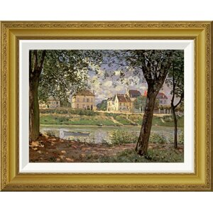'Little Town on the River Seine, 1872' by Alfred Sisley Framed Painting Print by Global Gallery