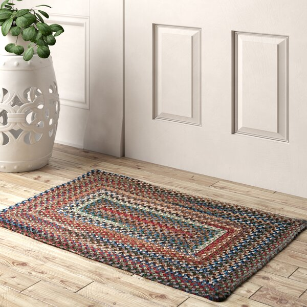 Tamez Geometric Braided Wool Green/Brown Area Rug