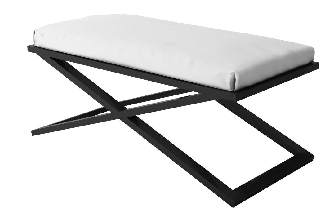 Everly Quinn Ahumada X Base Upholstered Steel Bench Reviews Wayfair