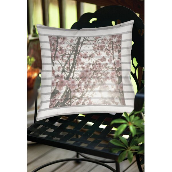 Cherry Blossom Stripes Indoor/Outdoor Throw Pillow by Manual Woodworkers & Weavers