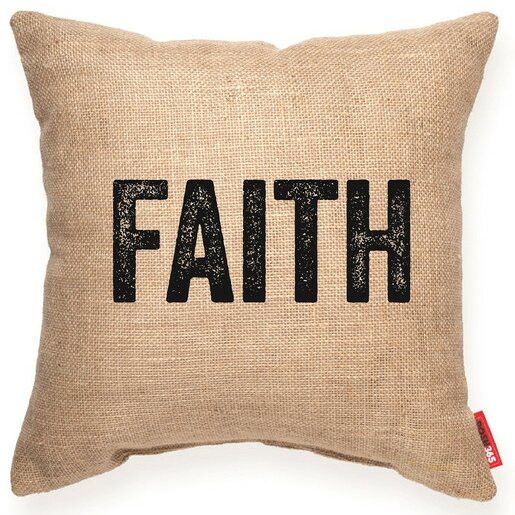 Expressive Faith Decorative Burlap Throw Pillow by Posh365