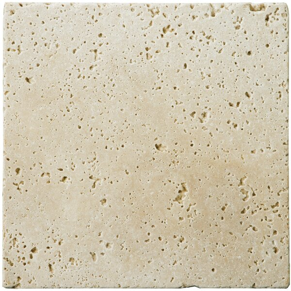Travertine 4 x 4 Unfilled and Tumbled Tile in Ivory Classic by Emser Tile