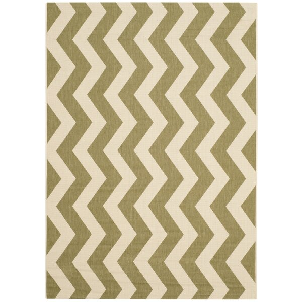 Jefferson Place Green/Beige Indoor/Outdoor Rug by Wrought Studio