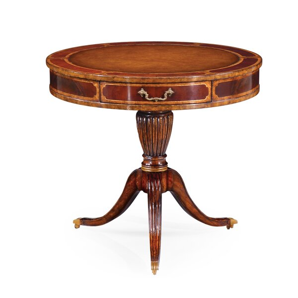 Solid Wood Pedestal End Table with Storage