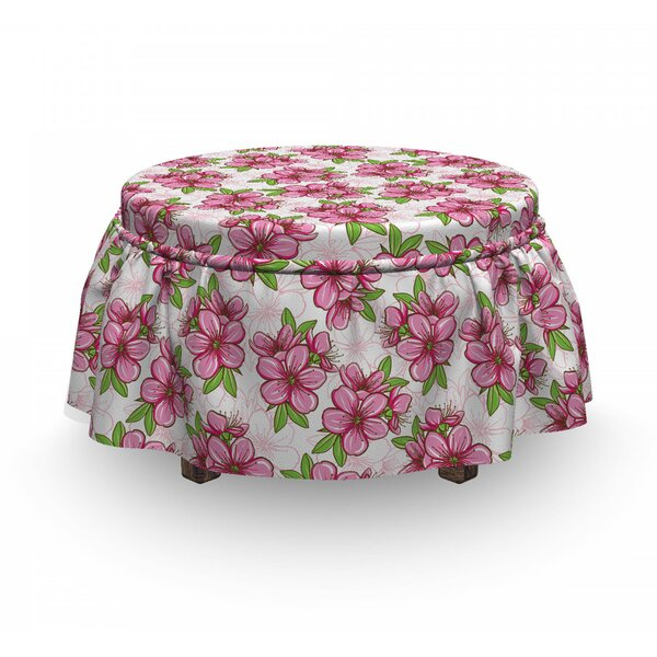 Oriental Flower Ottoman Slipcover (Set Of 2) By East Urban Home