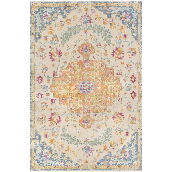 Ramsdell Vintage Hand-Knotted Wool Burnt Orange/Baby Blue Area Rug by Bungalow Rose