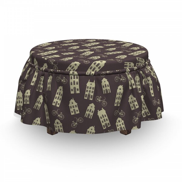Houses And Bicycles Ottoman Slipcover (Set Of 2) By East Urban Home