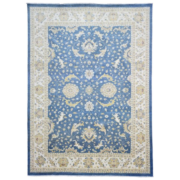One-of-a-Kind Maribel Oriental Hand Woven Wool Blue/Beige Area Rug by Isabelline
