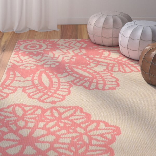 Ideal Crochet Pink/Beige Indoor/Outdoor Area Rug by Bungalow Rose