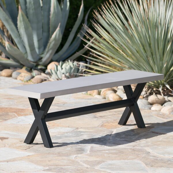 Warlick Outdoor Concrete Picnic Bench by Gracie Oaks